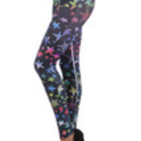 Carrie's Closet - Colorful Stars and Starfish Footless Tights -- SHEER