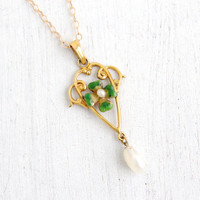 Antique 10k Yellow Gold Seed Pearl & Green Enamel Four Leaf Clover Edwardian Necklace- Vintage Lavalier Art Nouveau Pendant Fine Jewelry