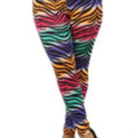 Carrie's Closet - high waist zebra print plus size leggings in neon pink teal orange pur