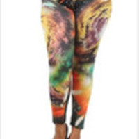 Carrie's Closet - orange galaxy plus size leggings