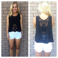 Black Floral Crochet Jaylyn Top