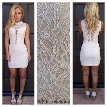 Cream Paisley Lace Scarlett Dress