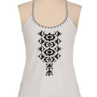 braided trim embroidered tank