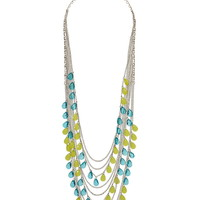 blue and green bead draped necklace
