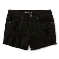 HIGH-WAISTED DESTROYED BLACK WASH SHORTY SHORTS
