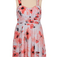 tie back floral print plus size dress