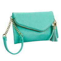small zip flap wristlet with tassels