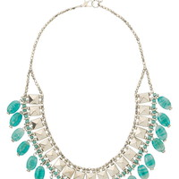 stud and turquoise bead statement necklace