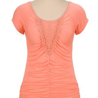 Ruched lace front cap sleeve top