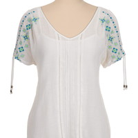 embroidered open shoulder v-neck top