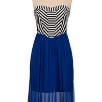 striped top chiffon mid length tube dress