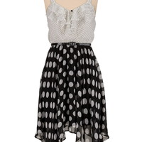 mixed dot print dress with belt
