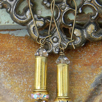 Bullet Earrings, .22 Caliber Bullet Earrings,.22 Caliber Jewelry, Crystal Bullet Earrings, Outlaw Glam