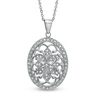 Diamond Accent Oval Vintage-Style Medallion Pendant in Sterling Silver - Clearance - Zales