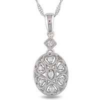 Diamond Accent Filigree Fashion Pendant in Sterling Silver - View All Necklaces - Zales