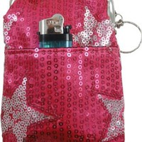 Star Studded Sequin Cigarette Purse with Lighter Holder (Assorted)