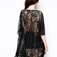 ASOS Kimono Top in Lace with Fringe Hem