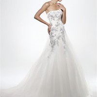 A Line Strapless Beaded Lace Taffeta Enzoani Wedding Dresses EWD002 -Shop offer 2012 wedding dresses,prom dresses,party dresses for girls on sale. #Category#