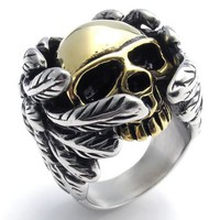 KONOV Jewelry Stainless Steel Gothic Wing Skull Men's Ring