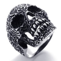 KONOV Jewelry Gothic Stainless Steel Skull Biker Men's Ring, Silver and Black