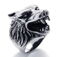 KONOV Jewelry Vintage Biker Wolf Head Stainless Steel Men's Ring