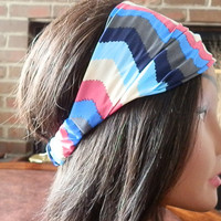 Bohemian Aztec Headband Fabric wrap Aqua white blue Hippie Boho headband with Chevron print and elastic back for women Turban headband