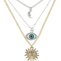 WIDE EYE DITSY MULTI ROW NECKLACE