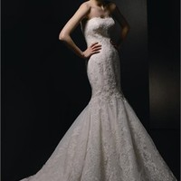 Mermaid Strapless Lace Chapel Train Enzoani Wedding Dresses EWD007 -Shop offer 2012 wedding dresses,prom dresses,party dresses for girls on sale. #Category#