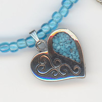 Heart Pendant Turquoise Chips Blue Bead Necklace by Lehane on Etsy