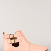 Bamboo Changer-01 Cut Out Round Toe Ankle Bootie