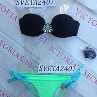 New Sexy Victoria's Secret Madi Bandeau Bikini Set Jewel Black 34A S