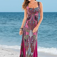 Multi (MU) Paisley Print Maxi Dress