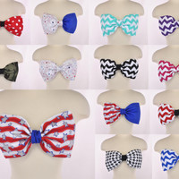 NEW PADDED Chevron Zig Zag Stripe Bow Bandeau Top Women Fashion Handmade