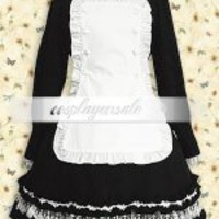 Cotton Black And White Long Sleeves Lolita Dress [T110586] - $73.00 : Cosplay, Cosplay Costumes, Lolita Dress, Sweet Lolita