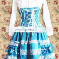 Cotton White And Blue Gothic Lolita Dress [T110577] - $73.00 : Cosplay, Cosplay Costumes, Lolita Dress, Sweet Lolita