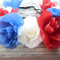 Patriotic Flower crown red white blue floral crown Coachella headband festival headband floral headband flower crown for women american flag