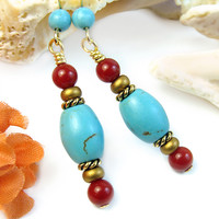 Colorful Turquoise Blue Coral Red Earrings Magnesite Handmade Jewelry