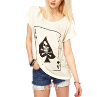 Sinful White Skull Shirt Ace Spades Card Poker Short Sleeve Biker Womens S A05