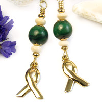 Green Gemstone Awareness Earrings Malachite Gold Tone Ribbons Handmade | PrettyGonzo - Jewelry on ArtFire
