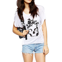Fashion Sinful Womens Tops Punk Loose Rose Skull Shirt Biker Tees White XL A05