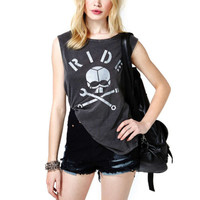 Fashion Black Sinful Skull Shirt Goth DARLING Biker Ride Tank Tops Womens L A05