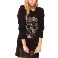 Womens Sinful Loose Rivets Skull Printed Long Sleeve Shirt Blouse Top XL A05
