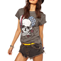 Sinful Flag Skull Shirt Wild at Heart Short Sleeve Goth Biker Top Womens L A05