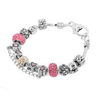 Pink Crystal Ball Silver Plated Open Rose Flower Spacer Mom Sis Set Fits Beads Charms Bracelets Fit All Brands, Charms Beads, Bracelets | Pugster.com