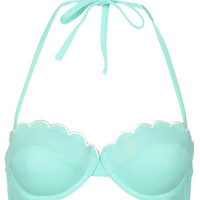 Mint Scallop Push Up Bikini Top