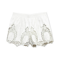 Embroidered Faux Leather Shorts