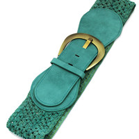 Teal Stretch Crochet Belt