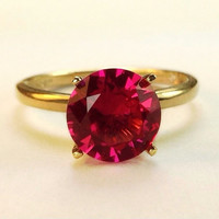 Ruby and Gold Ring, July Birthstone, Engagement Ring, Wedding Ring, Ruby Promise Ring