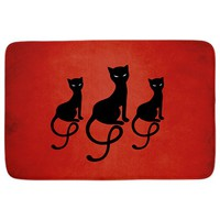Red Gracious Evil Black Cats Bathmat