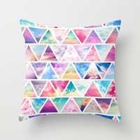 Pink Clouds Teal Sky Abstract Triangles Pattern Throw Pillow by Girly Road | Society6